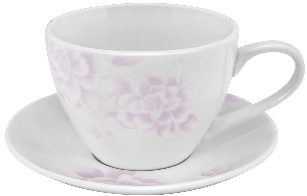 Чайная пара Esprado Peonies, 315 мл54 009312Чайная пара Esprado Peonies состоит из чашки и блюдца, изготовленных из костяного фарфора высшего качества, отличающегося необыкновенной прочностью и небольшим весом. Яркий дизайн, несомненно, придется вам по вкусу.Чайная пара Peonies украсит ваш кухонный стол, а также станет замечательным подарком к любому празднику.