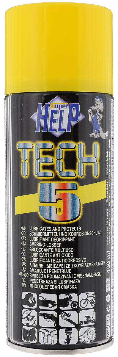 Cмазка многоцелевая SuperHelp Tech 5, для разблокировки и защиты механических узлов, 400 млS03301004Многоцелевая смазка SuperHelp Tech 5 предназначена для восстановления работоспособности и защиты узлов и механизмов работающих в условиях высоких нагрузок. Смазывает и облегчает демонтаж заржавевших деталей, предохраняет от коррозии. Водостойкая. Предохраняет электронные компоненты от влаги. Продлевает срок службы обработанных узлов. Имеется трубка для струйного распыления спрея.Объем: 400 мл. Товар сертифицирован.