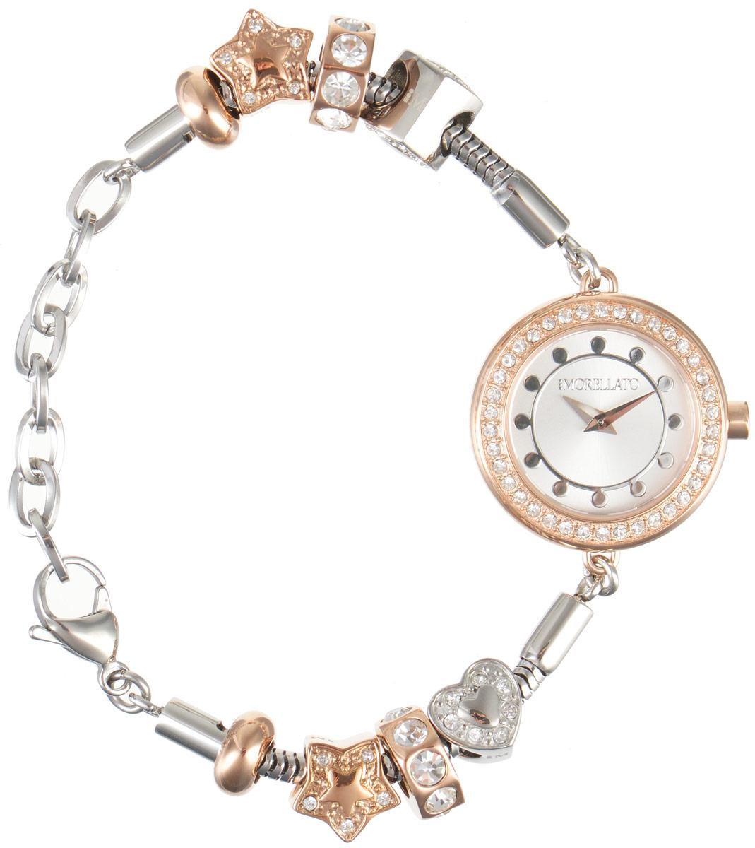 Часы наручные женские Morellato, цвет: серебристый. R0153122511BM8434-58AEИзысканные женские часы Morellato изготовлены из высокотехнологичной гипоаллергенной нержавеющей стали. Ремешок выполнен из нержавеющей стали с PVD-покрытием и оснащен практичной застежкой-карабином. Кварцевый механизм имеет степень влагозащиты равную 3 Bar и дополнен часовой и минутной стрелками. Корпус часов украшен ободком из цирконов. Браслет выполнен из соединяющихся между собой элементов в стиле Пандора, инкрустированных цирконами. Для того чтобы защитить циферблат от повреждений в часах используется высокопрочное минеральное стекло. На белом циферблате отметки в виде точек органично сочетаются с маленькими стрелками. Браслет комплектуется надежным и удобным в использовании замком-карабином, который позволит с легкостью снимать и надевать часы. Часы упакованы в фирменную коробку и дополнительно в подарочную коробку с названием бренда. Часы Morellato подчеркнут изящность женской руки и отменное чувство стиля у их обладательницы.
