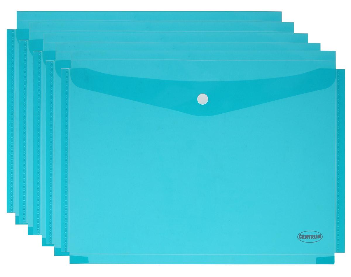 Centrum Папка-конверт на кнопке цвет бирюзовый 5 штFS-36054Папка-конверт на кнопке Centrum - это удобный и функциональный офисный инструмент, предназначенный для хранения и транспортировки рабочих бумаг и документов формата А4. Папка изготовлена из полупрозрачного пластика, закрывается клапаном на кнопке. В комплект входят 5 папок бирюзового цвета формата A4.Папка-конверт - это незаменимый атрибут для студента, школьника, офисного работника. Такая папка надежно сохранит ваши документы и сбережет их от повреждений, пыли и влаги.