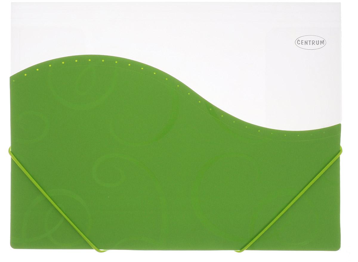 Centrum Папка на резинке цвет зеленыйANp_04111Папка на резинке Centrum - это удобный и функциональный офисный инструмент, предназначенный для хранения и транспортировки большого объема рабочих бумаг и документов формата А4. Папка с двойной угловой фиксацией резиновой лентой изготовлена из прочного высококачественного пластика. Она состоит из одного вместительного отделения с прозрачными пластиковыми разделителями. Уголки имеют закругленную форму, что предотвращает их загибание и помогает надолго сохранить опрятный вид обложки. Папка оформлена вставкой из непрозрачного пластика с оригинальным орнаментом.Папка-конверт - это незаменимый атрибут для студента, школьника, офисного работника. Она надежно сохранит ваши документы и сбережет их от повреждений, пыли и влаги.