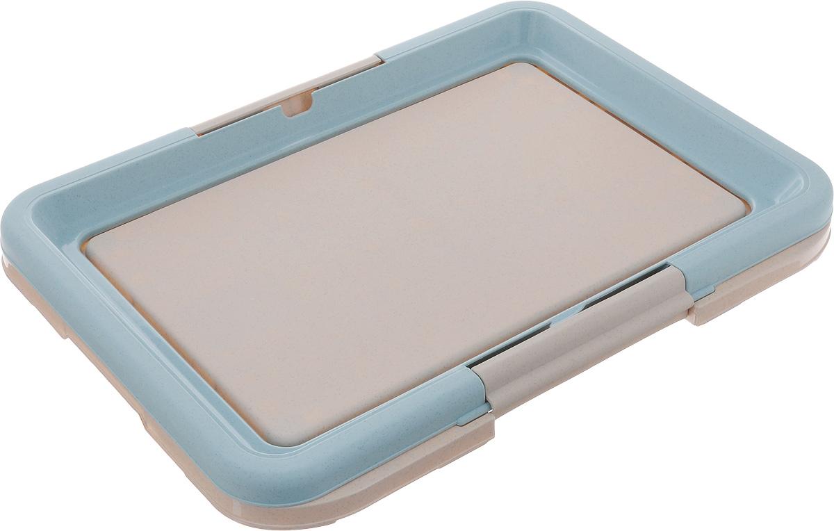 Туалет для собак Каскад, под пеленку, цвет: голубой, серый, 47 х 34 х 4 см12171996Туалет Каскад, изготовленный из высококачественного пластика, предназначен для собак и щенков. Гигиеническая пеленка помещается под борт и удерживается боковыми фиксаторами. Туалет легко моется водой.Гигиеническая пеленка в комплект не входит.
