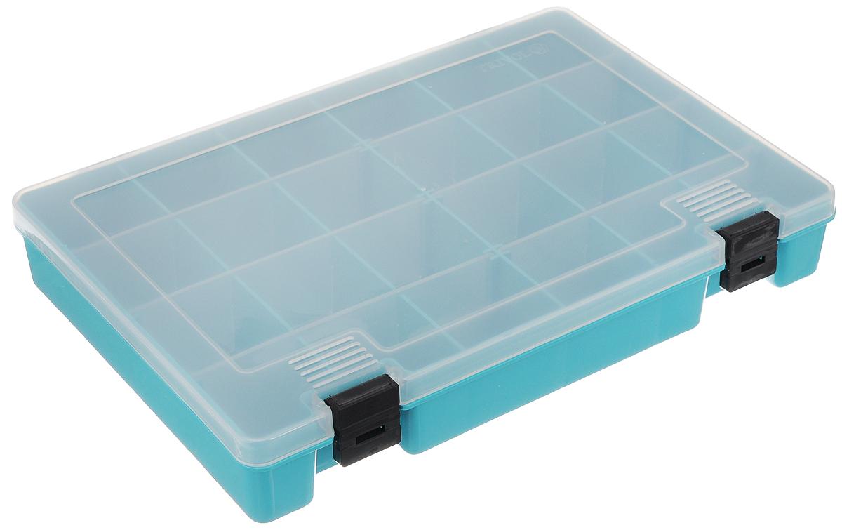 Коробка для мелочей Trivol, цвет: бирюзовый, прозрачный, 27,4 х 18,8 х 4,5 см498015_бирюзовый, прозрачныйКоробка для мелочей Trivol, выполненная из прочного полипропилена (пластика), отлично подойдет для хранения канцелярских принадлежностей дома или в офисе, аксессуаров для шитья и рукоделия, болтов и гаек, а также принадлежностей для рыбалки и других видов хобби. Изделие имеет прочные съемные разделители, с помощью которых можно регулировать количество ячеек. Прозрачный материал позволяет видеть содержимое. Крышка коробки плотно закрывается на 2 защелки. Коробка легко моется и чистится. Она поможет держать ваши вещи в порядке. Размер ячейки: 4,5 х 4,5 х 4 см.