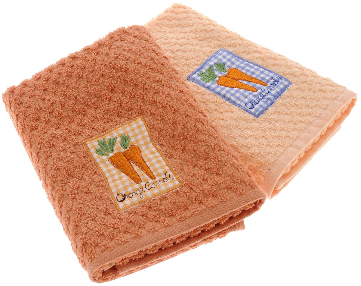 Набор махровых полотенец Bonita Морковь, 40 х 60 см, 2 шт87532Набор полотенец Bonita Морковь, изготовленный из натурального хлопка, идеально дополнит интерьер вашей кухни и создаст атмосферу уюта и комфорта. В набор входят два махровых полотенца, оформленных вышивкой в виде моркови.Изделия выполнены из натурального материала, поэтому являются экологически чистыми. Высочайшее качество материала гарантирует безопасность не только взрослых, но и самых маленьких членов семьи. Современный декоративный текстиль для дома должен быть экологически чистым продуктом и отличаться ярким и современным дизайном. Кухня, столовая, гостиная - то место в доме, где хочется собраться всем вместе, ощутить радость и уют. И немалая доля этого уюта зависит от подобранных под вашу мебель, и что уж говорить, под ваше настроение полотенец, скатертей, салфеток и прочих милых мелочей. Bonita предлагает коллекции готовых стилистических решений для различной кухонной мебели, множество видов, рисунков и цветов. Вам легко будет создать нужную атмосферу на кухне и в столовой с товарами Bonita.