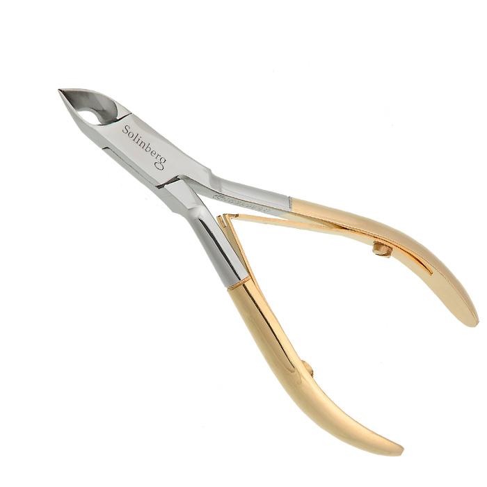 Кусачки маникюрные Solinberg 123 Comfort Line, золотые, двойная пружина, лезвия 6 мм ножницы маникюрные solinberg ножницы бытовые solinberg 832 длина лезвий 6