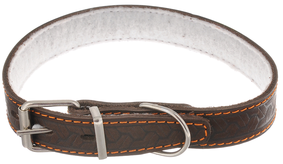 """Ошейник для собак Каскад """"Классика"""", цвет: темно-коричневый, ширина 2,5 см, обхват шеи 39-46 см. 00025082к"""