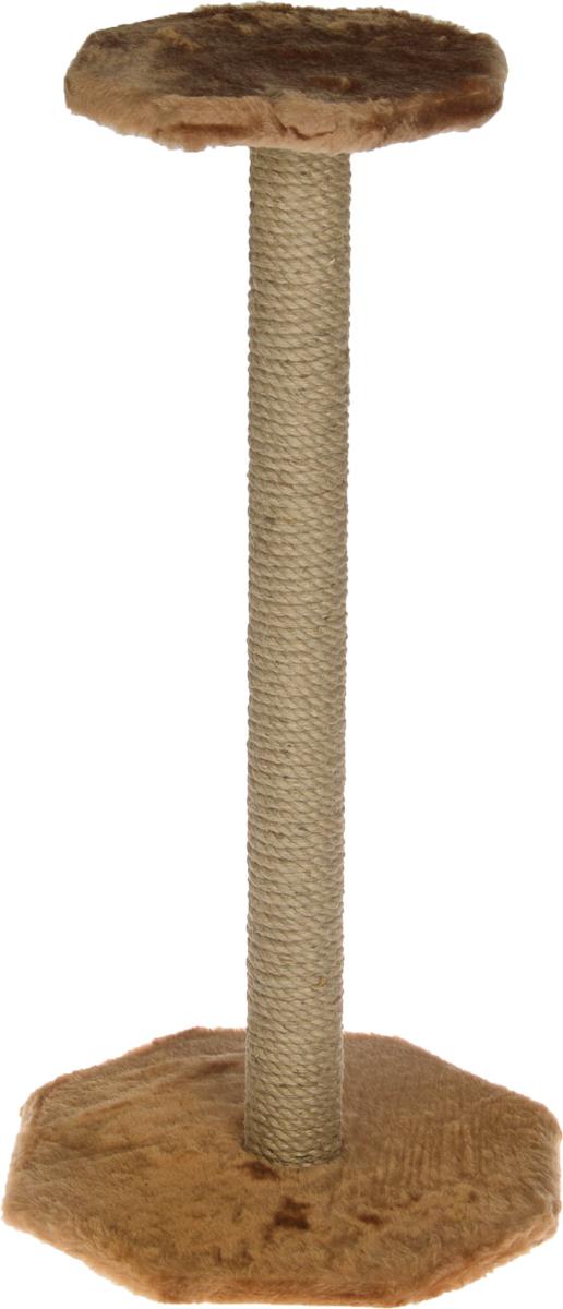 Когтеточка ЗооМарк, с полкой, цвет: светло-коричневый, высота 75 смК504 СС_светло-серыйКогтеточка ЗооМарк поможет сохранить мебель и ковры в доме от когтей вашего любимца, стремящегося удовлетворить свою естественную потребность точить когти. Когтеточка изготовлена из дерева, искусственного меха и джута. Товар продуман в мельчайших деталях и, несомненно, понравится вашей кошке. Сверху имеется полка.Всем кошкам необходимо стачивать когти. Когтеточка - один из самых необходимых аксессуаров для кошки. Для приучения к когтеточке можно натереть ее сухой валерьянкой или кошачьей мятой. Когтеточка поможет вашему любимцу стачивать когти и при этом не портить вашу мебель.Размер основания: 35 х 35 см.Высота когтеточки: 75 см.Размер полки: 25,5 х 25,5 см.