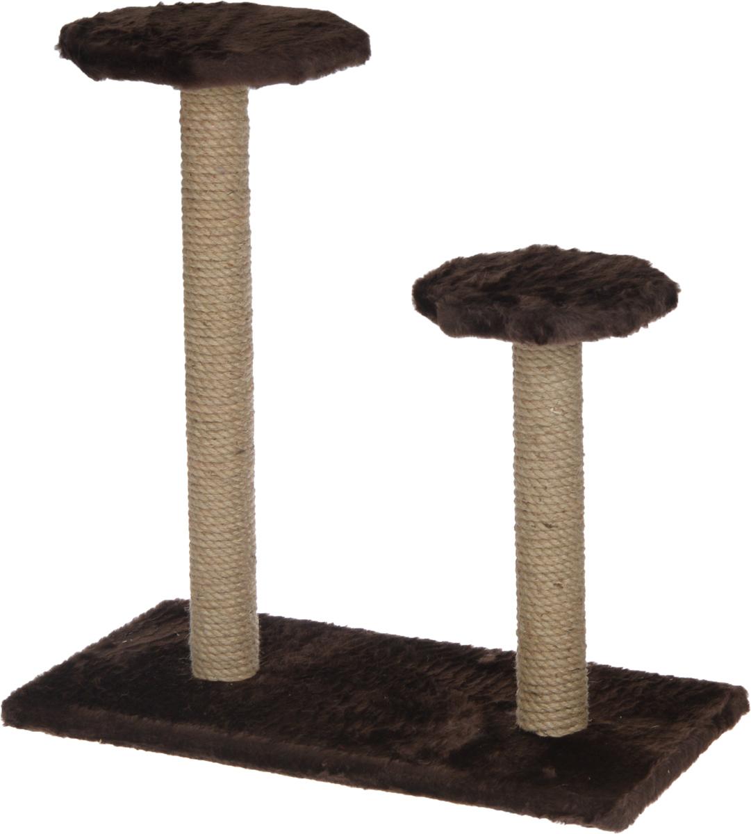Когтеточка ЗооМарк, на подставке, с полками, цвет: темно-коричневый, 56 х 31 х 64 см0120710Когтеточка ЗооМарк поможет сохранить мебель и ковры в доме от когтей вашего любимца, стремящегося удовлетворить свою естественную потребность точить когти. Когтеточка изготовлена из дерева, искусственного меха и джута. Товар продуман в мельчайших деталях и, несомненно, понравится вашей кошке. Имеется две полки.Всем кошкам необходимо стачивать когти. Когтеточка - один из самых необходимых аксессуаров для кошки. Для приучения к когтеточке можно натереть ее сухой валерьянкой или кошачьей мятой. Когтеточка поможет вашему любимцу стачивать когти и при этом не портить вашу мебель.