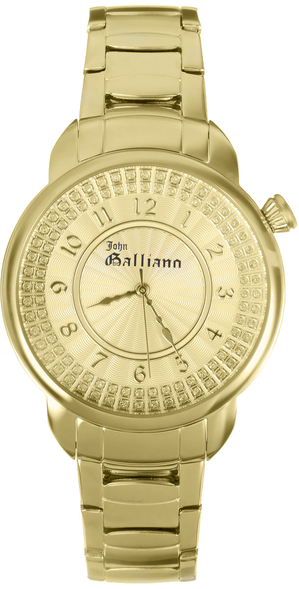 Часы наручные женские Galliano, цвет: золотой. R2553126502BM8434-58AEНаручные женские часы Galliano произведены из материалов самого высокого качества на базе новейших технологий.Они оснащены точным кварцевым механизмом. Корпус часов изготовлен из нержавеющей стали с PVD-покрытием, циферблат инкрустирован стразами и защищен минеральным стеклом. Ремешок выполнен из нержавеющей стали с PVD-покрытием оснащен удобной раскладывающейся застежкой, которая позволит моментально снимать и одевать часы без лишних усилий Циферблат круглой формы оснащен арабскими цифрами, а так же тремя стрелками - часовой, минутной и секундной. Часы являются водостойкими - 3АТМ.Изделие укомплектовано в стильную фирменную коробку с названием бренда.Наручные часы Galliano созданы для современных девушек, которые не желают потерять свою индивидуальность в городской суете.