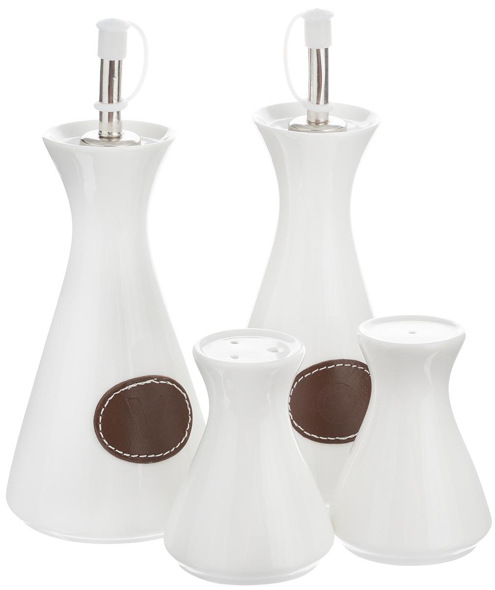 Набор емкостей для специй EcoWoo, 4 предмета115510Набор для современной кухни EcoWoo - это не только идеальный подарок, но и прекрасный повод побаловать себя!В набор входят 2 емкости для масла/уксуса, солонка и перечница. Изделия выполнены из высококачественного фарфора. Такой набор оценят ценители единого современного стиля. Востребованное сочетание цветов выполнено в лучших европейских традициях. Не использовать в посудомоечной машине.Объем емкостей для масла/уксуса: 300 мл. Высота емкостей для масла/уксуса (без учета крышки): 15 см. Диаметр основания емкостей для масла/уксуса: 7,5 см.Объем солонки/перечницы: 50 мл. Высота солонки/перечница: 8,5 см.Диаметр основания солонки/перечница: 5,5 см.