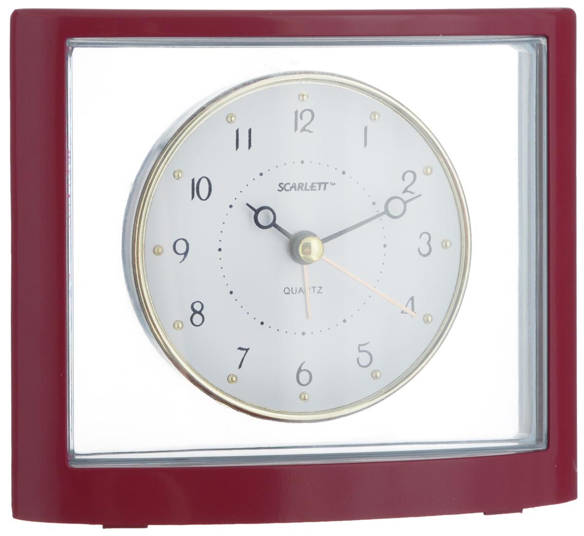 Часы-будильник Scarlett, цвет: бургунди, прозрачный, серыйVT-6602(W)Как же сложно иногда вставать вовремя! Всегда так хочется поспать еще хотя бы 5 минут и бывает, что мы просыпаем. Теперь этого не случится! Яркий, оригинальный будильник Scarlett поможет вам всегда вставать в нужное время и успевать везде и всюду.Корпус будильника выполнен из пластика. Циферблат оформлен в классическом стиле. Часы снабжены 4 стрелками (секундная, минутная, часовая и для будильника). На задней панели будильника расположен переключатель включения/выключения механизма, а также два колесика для настройки текущего времени и времени звонка будильника.Пользоваться будильником очень легко: нужно всего лишь поставить батарейку, настроить точное время и установить время звонка. Необходимо докупить 1 батарейку типа АА (не входит в комплект).
