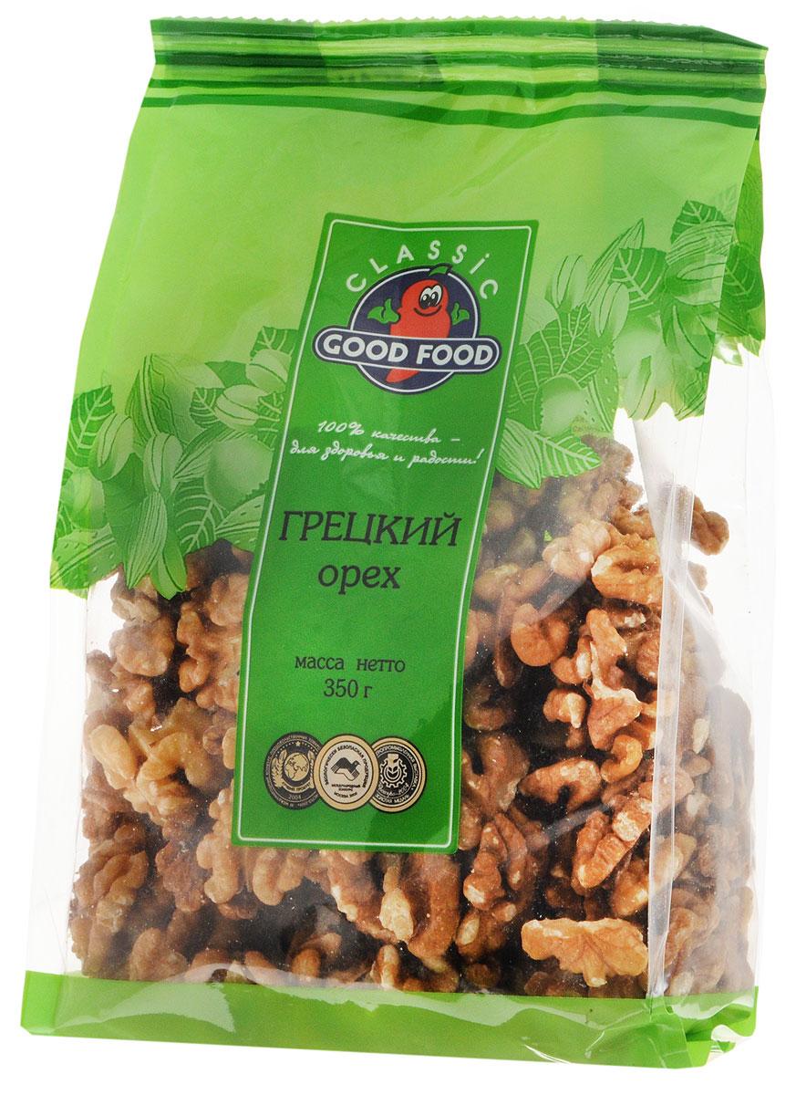 Good Food грецкийорех,350г0120710Даже небольшая горсть грецких орехов - это кладезь витаминов и хорошая профилактика многих заболеваний. Грецкие орехи богаты витаминами, минералами, эфирными маслами, органическими кислотами и клетчаткой. Грецкие орехи Good Food- это гарантированное качество и чистота каждого орешка.