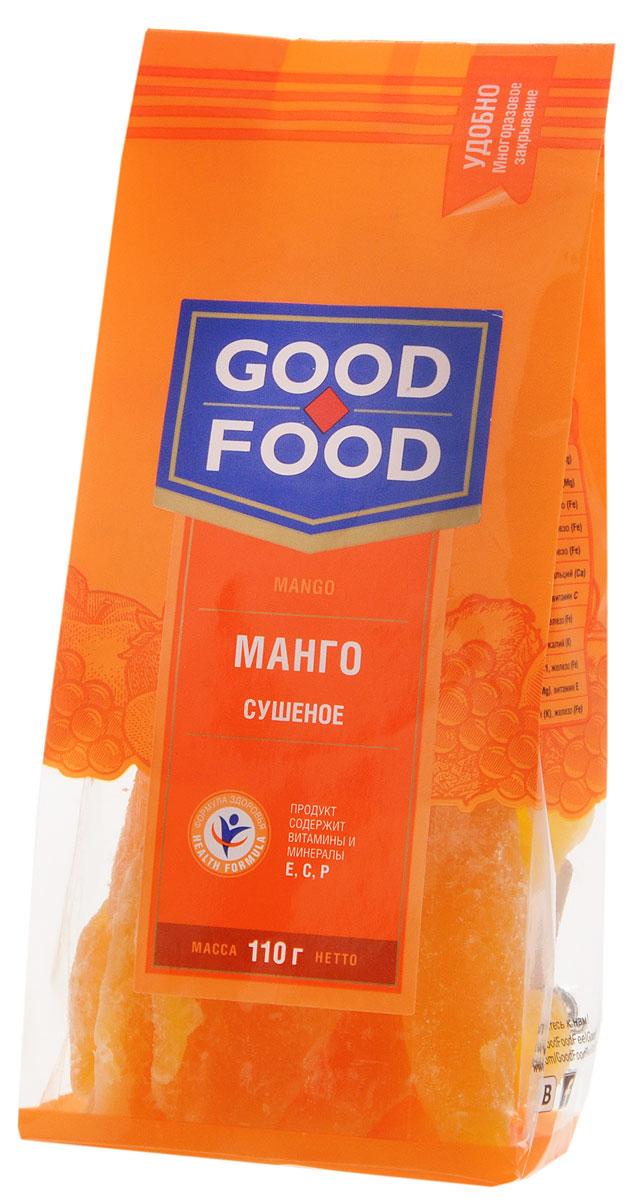 Good Food мангосушеное,110г0120710Good Food Сушеное манго -это необычайно вкусное и не менее полезное лакомство. Ароматные кусочки сушеного манго могут стать прекрасной альтернативой питательного и одновременно легкого перекуса. Считается также, что манго может быстро снять нервное напряжение, легко повысит настроение и поможет преодолеть стресс. Вещества в составе этого плода способствуют предупреждению таких заболеваний как анемия, гипертония и атеросклероз. Нормализуется работа пищеварительного тракта, и, следовательно, улучшается обмен веществ в организме.