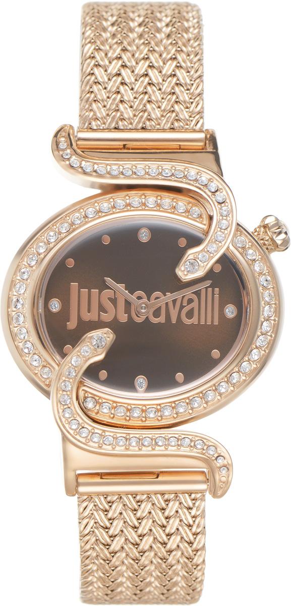 Часы наручные женские Just Cavalli, цвет: золотой. R7253591506BM8434-58AEОригинальные женские часы Just Cavalli выполнены из нержавеющей стали с PVD-покрытием и минерального стекла. Изделие дополнено символикой бренда.Корпус часов выполнен из нержавеющей стали с PVD-покрытием, оформлен оригинальными змейками, извивающимися вдоль корпуса, инкрустирован стразами. Циферблат дополнен минеральным стеклом и имеет степень влагозащиты равную 3 atm. Ремешок имеет практичную пряжку, которая позволит моментально снимать и одевать часы без лишних усилий.Часы поставляются в фирменной упаковке.Часы Just Cavalli подчеркнут изящность женской руки и отменное чувство стиля у их обладательницы.