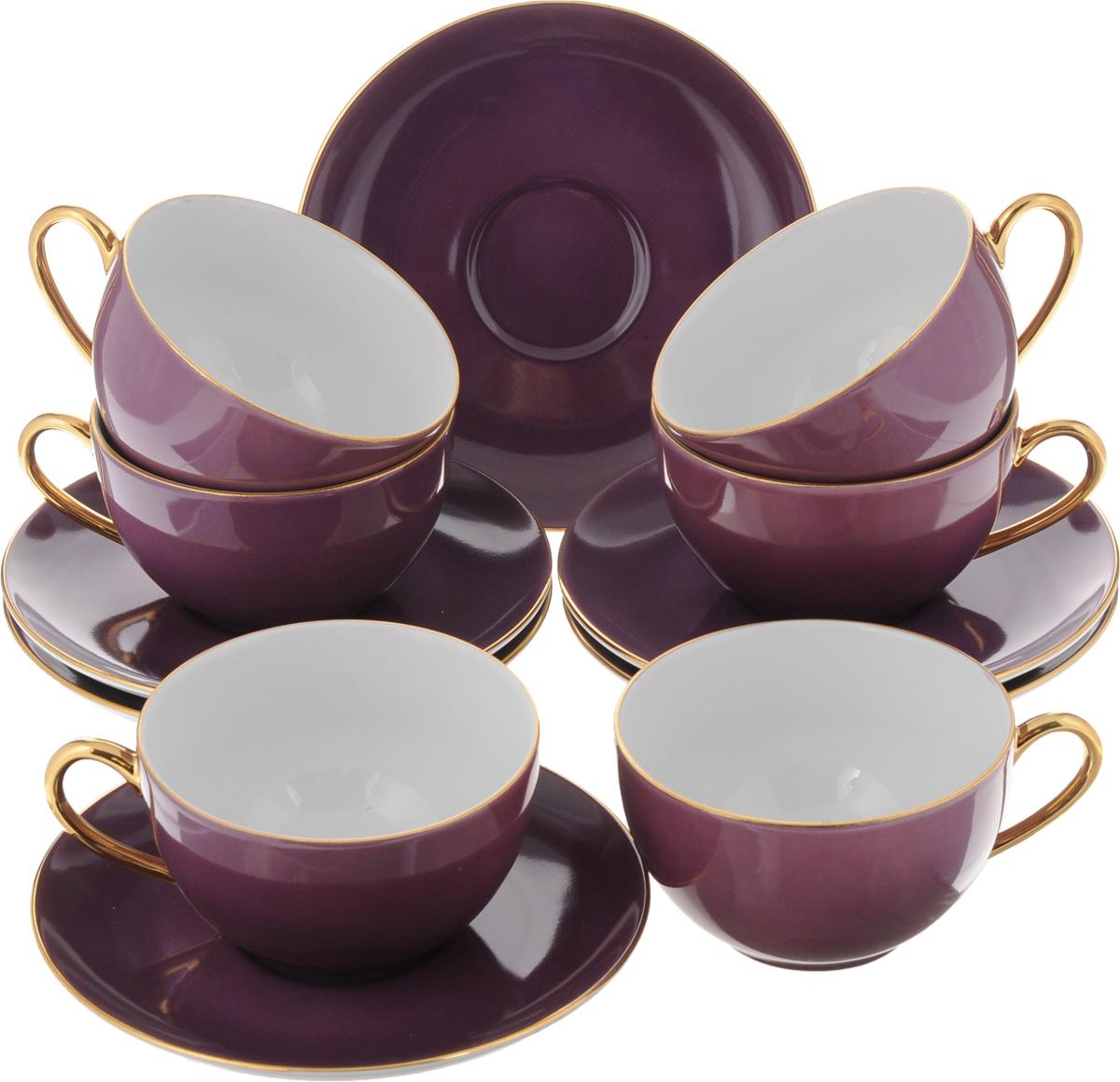Набор чайный Yves De La Rosiere Monalisa, цвет: фиолетовый, 12 предметов115510Чайный набор Yves De La Rosiere Monalisa состоит из 6 чашек и 6 блюдец, изготовленных из высококачественного фарфора. Такой набор прекрасно дополнит сервировку стола к чаепитию, а также станет замечательным подарком для ваших друзей и близких. Объем чашки: 220 мл. Диаметр чашки по верхнему краю: 9,5 см. Высота чашки: 5,5 см. Диаметр блюдца: 15 см.Высота блюдца: 2 см.