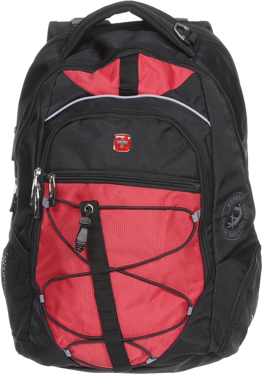 Рюкзак городской  Wenger , цвет: черный, красный, 34 x 19 x 46 см, 30 л - Рюкзаки
