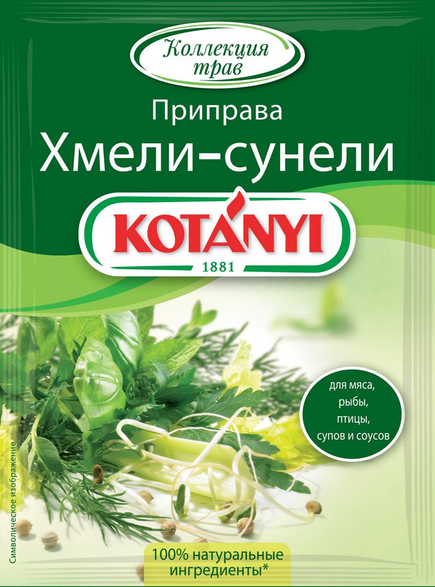 Kotanyi Приправа Хмели-сунели, 30 г151311Приправа Kotanyi Хмели-сунели - это ароматная смесь базилика, чабера, кориандра и зеленой мяты. Эта пряная смесь трав придаст блюдам летний, свежий аромат.Применение: незаменима для блюд из птицы, рыбы, тушеного мяса, а также для блюд кавказской кухни. Прекрасно подходит к супам и ореховым соусам.