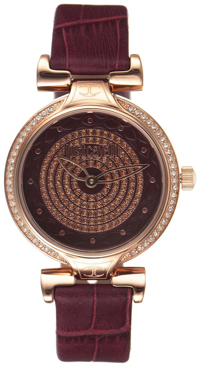 Часы наручные женские Just Cavalli, цвет: бордовый. R7251579502EQW-M710DB-1A1Утонченные женские часы Just Cavalli произведены опытными специалистами из материалов самого высокого качества на базе новейших технологий. Часы оснащены точным кварцевым механизмом. Корпус часов выполнен из нержавеющей стали с PVD-покрытием, инкрустирован стразами и защищен минеральным стеклом. Ремешок выполнен из натуральной кожи с тиснением под крокодила и оснащен классической застежкой-пряжкой. Циферблат инкрустирован стразами и оснащен тремя стрелками - часовой, минутной и секундной.Часы укомплектованы в фирменную коробку с названием бренда. С этими часами вы не останетесь незамеченной. Гипнотический дизайн, глубокий бордовый цвет в сочетании с благородным золотым, блеск кристаллов- часы Just Cavalli аксессуар, достойный королевы.