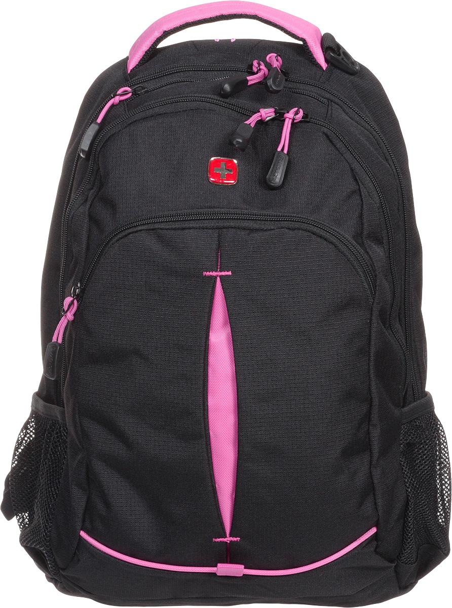 Рюкзак Wenger, цвет: черный, розовый, 32 см х 15 см х 46 см, 22 лBP-001 BKРюкзак Wenger - это самодостаточный, многофункциональный и надежный спутник своего владельца, как и знаменитый швейцарский нож! Благодаря многофункциональности рюкзака, вы можете легко организовать свои вещи, отправив ключи, мобильный телефон и еще тысячу мелочей в специальный карман-органайзер. После этого останется еще много места для других необходимых вещей. Рюкзаки и сумки Wenger - это прежде всего современные материалы и фурнитура от надежных поставщиков и швейцарский контроль качества, благодаря которому репутация компании была и остается столь высокой. Продуманная конструкция и современные технологии проявляются главным образом в потрясающей надежности рюкзаков и сумок Wenger. А ведь надежность - самое важное качество и в амуниции, и в людях! Особенности:Эргономичные плечевые ремни анатомической формы с пропускающей воздух набивной подкладкой для комфортного ношения рюкзака.Система циркуляции воздуха AIRFLOW для обеспечения максимального комфорта и поддержки спины.Внутренний карман для МР3-плеера с внешним выходом для наушников.Карман из эластичной растягивающейся сетки на плечевом ремне подходит для безопасного хранения большинства мобильных устройств. Удобное расположение обеспечивает быстрый доступ к телефону.Внешние карманы из эластичной сетки подходят для хранения бутылок любого размера.Внутренний карман-органайзер включает в себя съемную ключницу и многочисленные раздельные кармашки для пишущих принадлежностей, мобильного телефона и компакт-дисков.Карман для документов в основном отделении обеспечивает их удобное хранение.