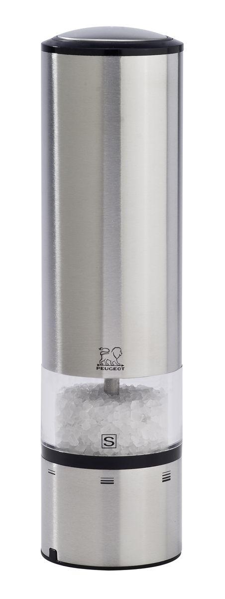 Мельница для соли и перца Peugeot Elis Sense, электрическая, высота 20 см25828Электрическая мельница Peugeot Elis Sense предназначена для приготовления свежемолотого перца и соли. Мельница изготовлена из высококачественной нержавеющей стали. Peugeot запускает первое поколение электрических мельниц с сенсорным управлением. Благодаря внедрению сенсорной технологии для самого первого раза, Elise Sense может похвастаться непревзойденной эргономикой. Больше нет необходимости нажимать на кнопку, достаточно легкого прикосновения, чтобы получить нужное вам количество соли или перца. Синяя подсветка указывает, что мельница находится в рабочем состоянии, а LED освещение в основании мельницы позволяет вам контролировать кол-во и степень помола специй. В комплекте имеется емкость с солью. Высота мельницы: 20 см.Диаметр мельницы: 5,5 см.