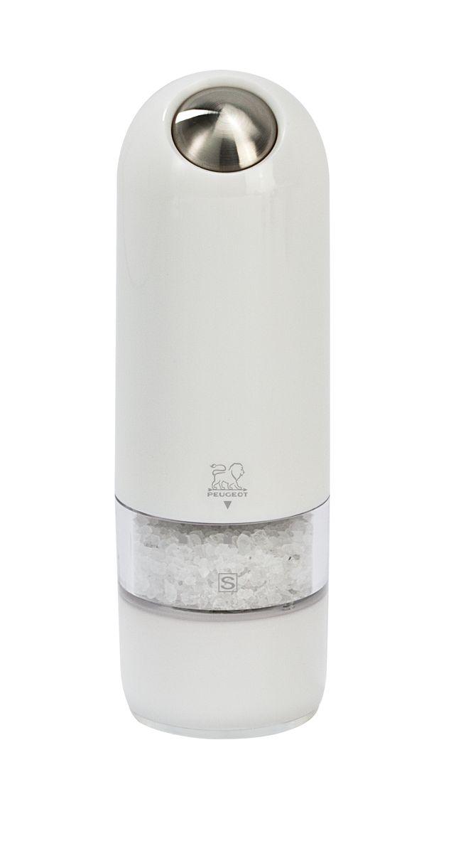 Мельница для соли Peugeot Alaska, электрическая, цвет: белый, высота: 17 см4630003364517Мельницы этой коллекции обладают одновременно современным и винтажным дизайном. Она выделяется внешним обликом из ряда электрических мельниц гармоничным сочетанием пластмассы и металла. Эргономичная форма будет радовать поваров, которые могут пользоваться ей, держа в одной руке во время приготовления пищи другой. Свет в основании мельницы помогает увидеть, сколько соли или перца вы добавляете . Прозрачные стенки позволяют контролировать количество специй внутри.