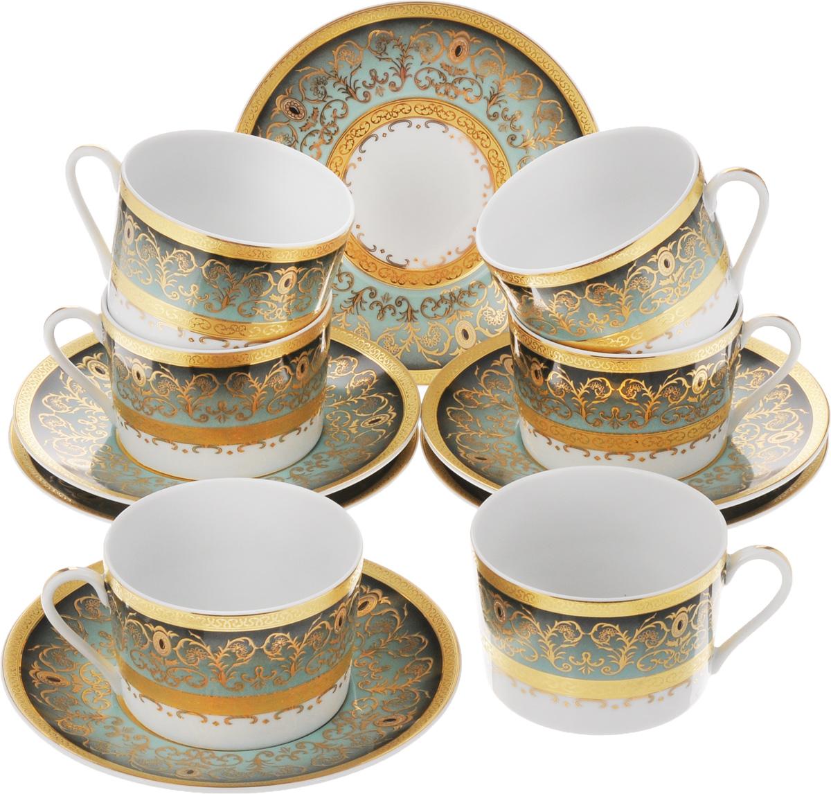 Набор чайный Yves De La Rosiere Mimosa, цвет: зеленый, золотистый, 12 предметов115510Чайный набор Yves De La Rosiere Mimosa состоит из 6 чашек и 6 блюдец, изготовленных из высококачественного фарфора. Такой набор прекрасно дополнит сервировку стола к чаепитию, а также станет замечательным подарком для ваших друзей и близких. Объем чашки: 220 мл. Диаметр чашки по верхнему краю: 9 см. Высота чашки: 6 см. Диаметр блюдца: 16 см.Высота блюдца: 2 см.