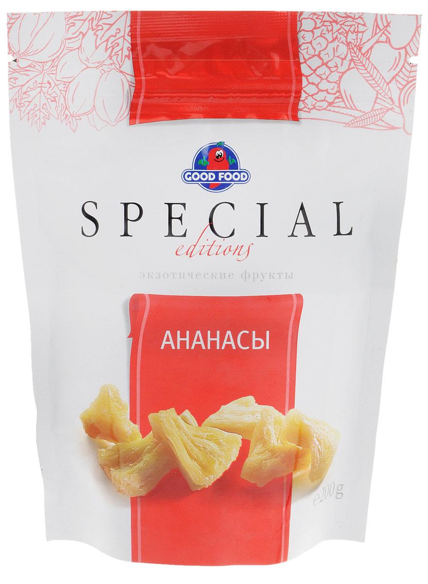 Good Food Specialананасы сушеные,200г0120710Попробуйте ананасы Good Food Special и вы получите не только удовольствие от вкуса, но и внесете разнообразие в свой ежедневный рацион, а самое главное, поддержите силы своего организма. Количество добавленного сахара в них почти в 4 раза меньше, чем в обычных цукатах. Благодаря этой технологии во фруктах сохранена нежность текстуры, природная сладость без вреда для фигуры и здоровья.