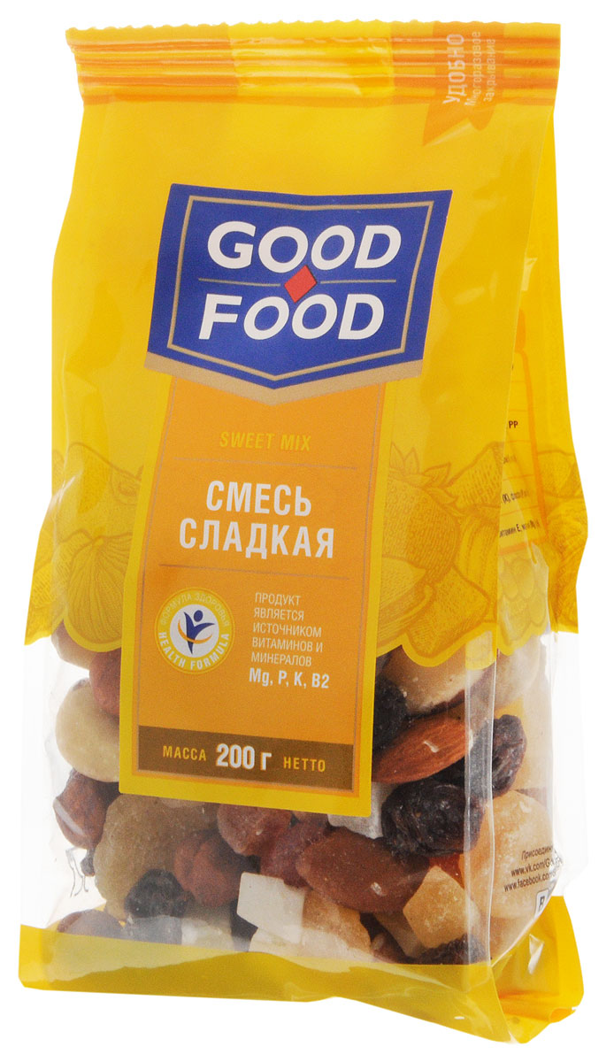 Good Foodсмесьсладкая,200г4620000671411Смесь Сладкая Good Food содержит в себе ананас, бразильский орех, изюм Томпсон джамбо, кешью сушеный, кокос кубиками, миндаль сушеный, папайю кубиками и сушеный фундук. Притупляет чувство голода. Оказывает защитное действие от различных инфекций.
