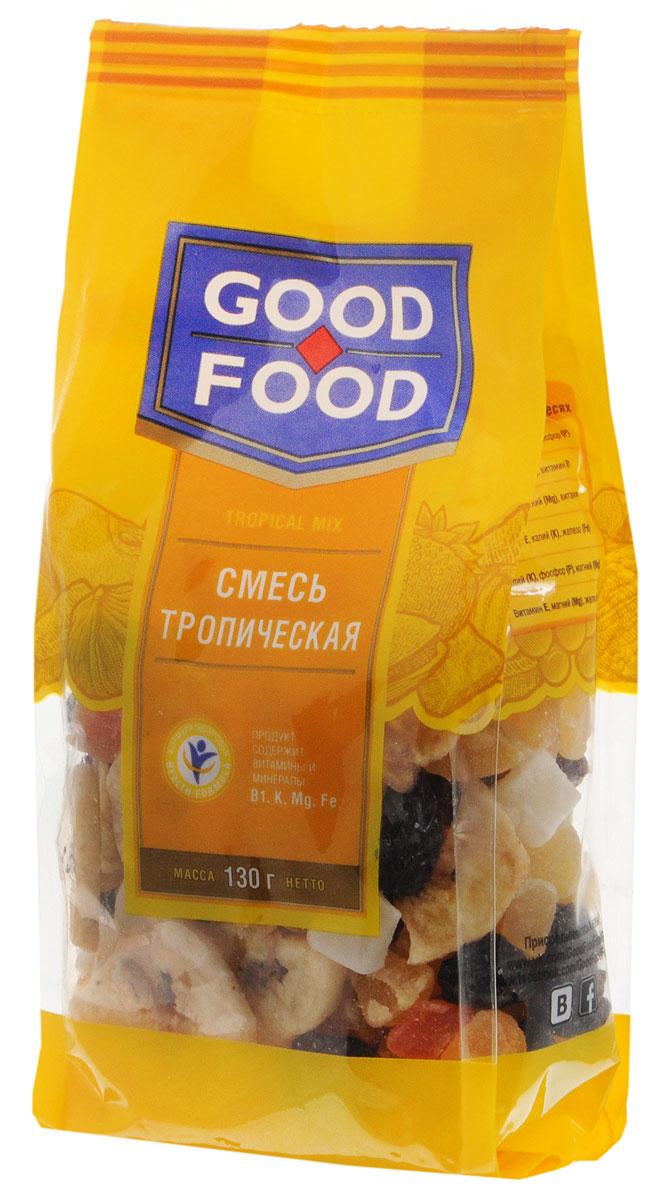 Good Foodсмесьтропическая,130г0120710Смесь Тропическая Good Food - это ассорти экзотических компонентов: ананасы, банановые чипсы, кокос и папайя, а также изюм black jumbo. Притупляет чувство голода и хорошо насыщает.