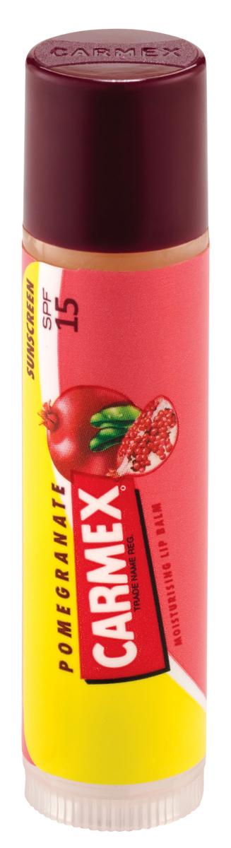 Carmex Бальзам для губ с ароматом граната с защитой от воздействия ультрафиолета SPF15, стик в блистере, 4,25 г6Уникальная формула CARMEX содержит специальные ингредиенты, которые вызывают ощущение покалывания - это означает, что CARMEX работает; увлажняя и защищая губы, делает их мягкими и здоровыми.