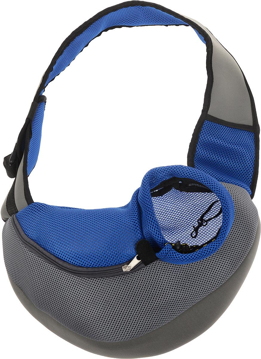 Сумка-переноска для животных Каскад Слинг, через плечо, цвет: серый, синий, черный, 35 х 25 х 13 смDM-160123Текстильная сумка-переноска Каскад Слинг предназначена для собак мелких пород и кошек. Изделие закрывается сбоку на застежку-молнию и затягивается в области головы животного на шнурок на кулиске. Для удобной переноски предусмотрена широкая лямка с регулируемой длиной. Сбоку расположена сетчатая ткань, позволяющая поступать в сумку воздуху. Снизу имеется мягкая вставка, обеспечивающая удобство питомца. Внутри расположен карабин, к которому можно пристегнуть ошейник питомца.