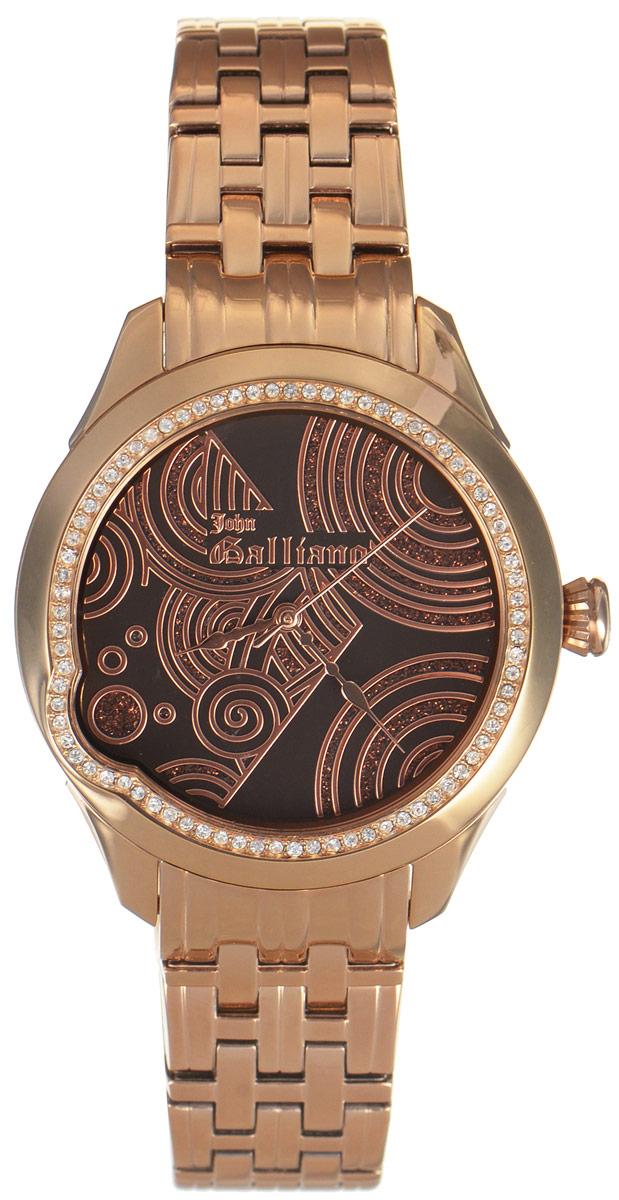 Часы наручные женские Galliano, цвет: золотой. R2553130501BP-001 BKНаручные женские часы Galliano произведены из материалов самого высокого качества на базе новейших технологий.Они оснащены точным кварцевым механизмом. Корпус часов изготовлен из нержавеющей стали с PVD-покрытием и инкрустирован стразами, циферблат защищен минеральным стеклом. Ремешок выполнен из нержавеющей стали с PVD-покрытием и оснащен практичной раскладывающейся застежкой.Циферблат круглой формы оснащен тремя стрелками - часовой, минутной и секундной. Часы являются водостойкими - 3АТМ.Изделие укомплектовано в стильную фирменную коробку с названием бренда.Наручные часы Galliano созданы для современных девушек, которые не желают потерять свою индивидуальность в городской суете.