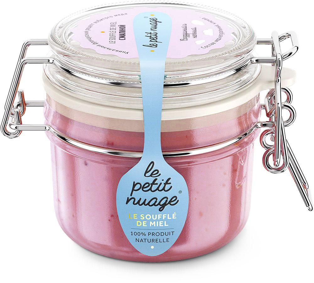 Le Petit Nuage мед-суфле с малиной, 215 г0120710Мед-суфле Le Petit Nuage с малиной - яркое сочетание. Аромат малины погружает в атмосферу комфорта, в воспоминание о фруктовом мороженом и детстве. Этот мед радует глаз своим нежно-розовым цветом и медово-малиновым вкусом. Медовое суфле сохраняет всю полезность меда и малины.