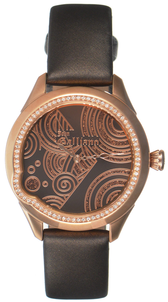 Часы наручные женские Galliano, цвет: коричневый. R2551130501BM8434-58AEНаручные женские часы Galliano произведены из материалов самого высокого качества на базе новейших технологий.Они оснащены точным кварцевым механизмом. Корпус часов изготовлен из нержавеющей стали с PVD-покрытием и инкрустирован стразами, циферблат защищен минеральным стеклом. Ремешок выполнен из натуральной кожи иоснащен классической застежкой-пряжкой.Циферблат круглой формы оснащен тремя стрелками - часовой, минутной и секундной. Часы являются водостойкими - 3АТМ.Изделие укомплектовано в стильную фирменную коробку с названием бренда.Наручные часы Galliano созданы для современных девушек, которые не желают потерять свою индивидуальность в городской суете.
