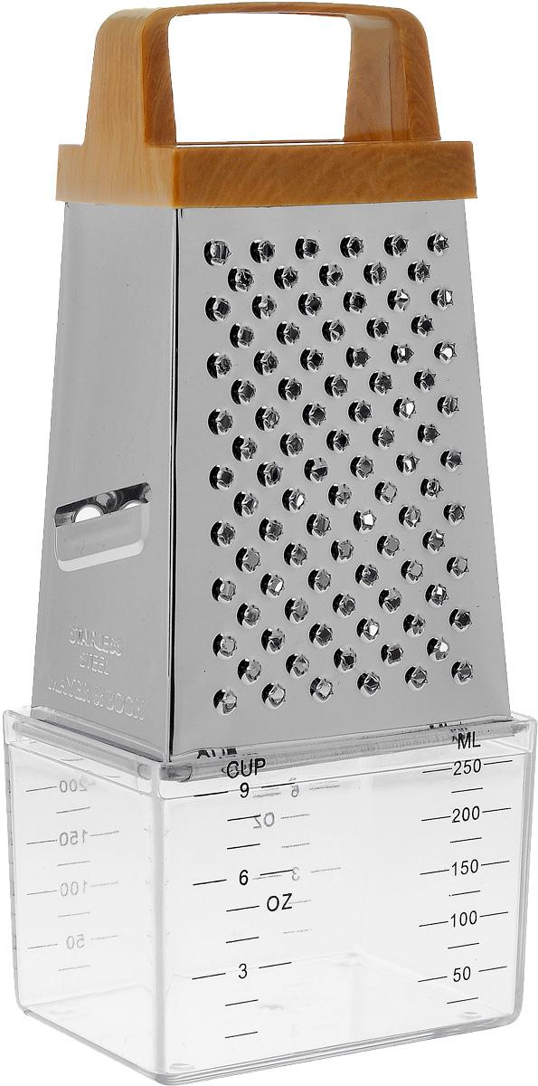 Терка Mayer & Boch, четырехгранная, с контейнером. 4997391602Терка Mayer & Boch, изготовленная из высококачественной нержавеющей стали, оснащена удобной ручкой, выполненной из пластика. Изделие имеет четыре вида терок - крупная, терка для овощных пюре, шинковка и шинковка фигурная. Терка снабжена специальным пластиковым контейнером, куда попадают уже натертые продукты. На контейнере имеются мерные деления. Терку можно использовать и без контейнера. Каждая хозяйка оценит все преимущества этой терки. Благодаря этому можно удовлетворить любые потребности по нарезке различных продуктов.Наслаждайтесь приготовлением пищи с многофункциональной теркой Mayer & Boch.Размер терки: 8,5 х 6 х 14 см. Размер контейнера: 9 х 6,5 х 6 см.Высота терки (с учетом контейнера): 20 см.