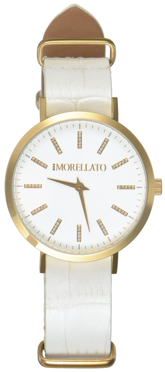 Часы наручные женские Morellato, цвет: белый. R0151133505BM8434-58AEСтильные женские часы Morellato изготовлены из высокотехнологичной гипоаллергенной нержавеющей стали с PVD-покрытием. Ремешок выполнен из натуральной лаковой кожи с тиснением под рептилию и оснащен классической застежкой-пряжкой. Точный кварцевый механизм имеет степень влагозащиты равную 3 Bar и дополнен часовой и минутной стрелками. Циферблат украшен рисками, инкрустированными искусственными кристаллами. Для того чтобы защитить циферблат от повреждений в часах используется высокопрочное минеральное стекло. Изделие упаковано в фирменную коробку и дополнительно в подарочную коробку с названием бренда. Часы Morellato отличаются современным уникальным дизайном, идеальными пропорциями в сочетании с прекрасными материалами, техническими характеристиками и доступной ценой.