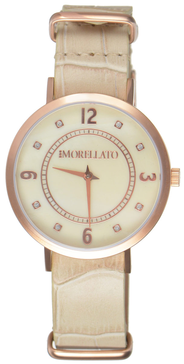 Часы наручные женские Morellato, цвет: песочный. R0151133507BM8434-58AEСтильные женские часы Morellato изготовлены из высокотехнологичной гипоаллергенной нержавеющей стали с PVD-покрытием. Ремешок выполнен из натуральной кожи с тиснением под рептилию и оснащен классической застежкой-пряжкой. Точный кварцевый механизм имеет степень влагозащиты равную 3 Bar и дополнен часовой и минутной стрелками. Циферблат украшен рисками, инкрустированными искусственными кристаллами и перламутром. Для того чтобы защитить циферблат от повреждений в часах используется высокопрочное минеральное стекло. Изделие упаковано в фирменную коробку и дополнительно в подарочную коробку с названием бренда. Часы Morellato отличаются современным уникальным дизайном, идеальными пропорциями в сочетании с прекрасными материалами, техническими характеристиками и доступной ценой.