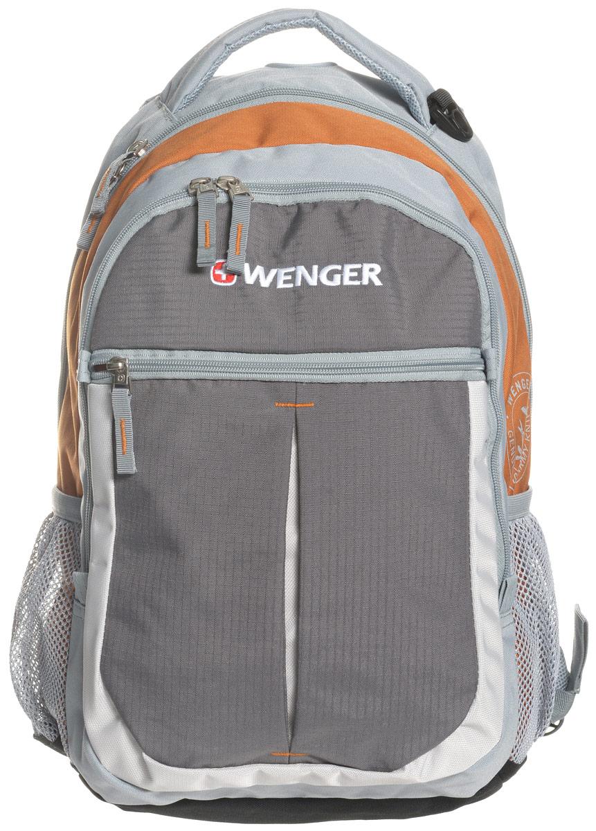 Рюкзак городской Wenger Montreux, цвет: серый, оранжевый, 22 лMABLSEH10001Высококачественный и стильный, надежный и удобный, а главное прочный рюкзак Wenger Montreux. Благодаря своей многофункциональности данный рюкзак позволяет удобно и легко укладывать свои вещи. Для ноутбука есть специальное мягкое отделение под спинкой. А для мелочей, типа ключей, ручек, мобильного телефона и др. имеется карман-органайзер. Рюкзак изготовлен из прочных, современных материалов и надежной, стильной фурнитуры. Современные технологии и продуманная конструкция обеспечивают рюкзаку удобство и надежность.