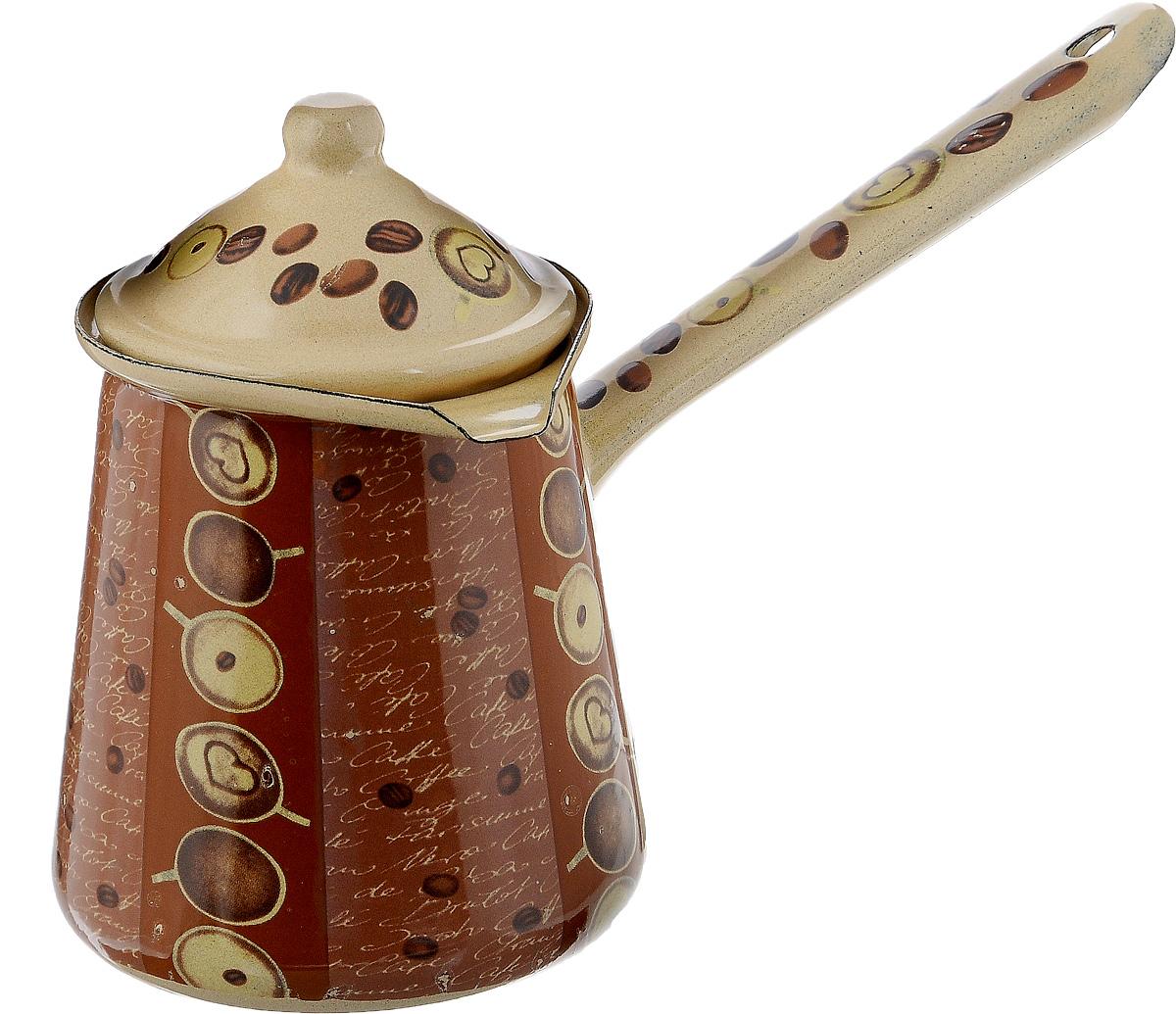 Турка Calve, с крышкой, цвет: бежевый, коричневый, 700 мл54 009312Турка Calve, изготовленная из высококачественной стали, предназначена для приготовления кофе. Внешние стенки турки оформлены изящным рисунком с изображением кофейных зерен. Изделие имеет широкое горлышко, специальный носик и крышку. Рукоятка снабжена специальным отверстием, благодаря которому изделие можно подвесить на крючок. Кофе в турке варится очень просто. Насыпьте молотый кофе, залейте водой и варите на слабом огне, не доводя до кипения. Чем дольше кофе варить, тем крепче он становится. Подходит для всех видов плит, включая индукционные. Диаметр турки (по верхнему краю): 9,5 см. Длина ручки: 14,5 см.Высота стенки: 12,5 см.