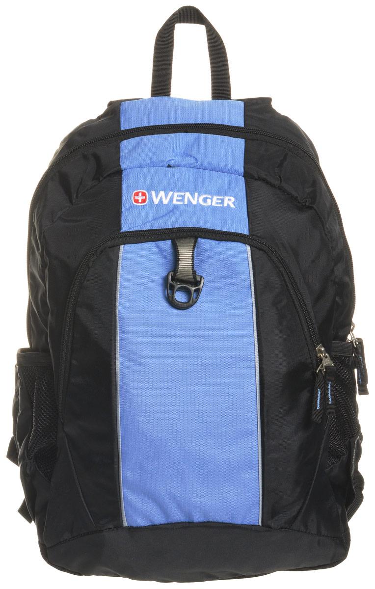 Рюкзак городской Wenger SA1722, цвет: черный, голубой, 20 л17222315Рюкзак туристический Wenger имеет прекрасную эргономику и инновационный стильный дизайн. Коллектив дизайнеров и технологов проделали огромную совместную работу позволившую воплотить в реальность свои самые смелые разработки. Рюкзак данной модели является супер удобным, при этом он имеет прекрасный внешний вид, что очень трудно совместить в изделиях данного назначения.Особенности:Эргономичные ремни анатомической формы разработанные с дополнительным уплотнением для удобства и контроля.Внешние двойные карманы из эластичной сетки удобны для бутылок различного размера.Внутренний карман подходит для большинства MP3 плееров с внешним портом для наушников.Внутренний карман-органайзер включает съемную ключницу и разделительные кармашки для ручек, карандашей, мобильного телефона с CD дисков.
