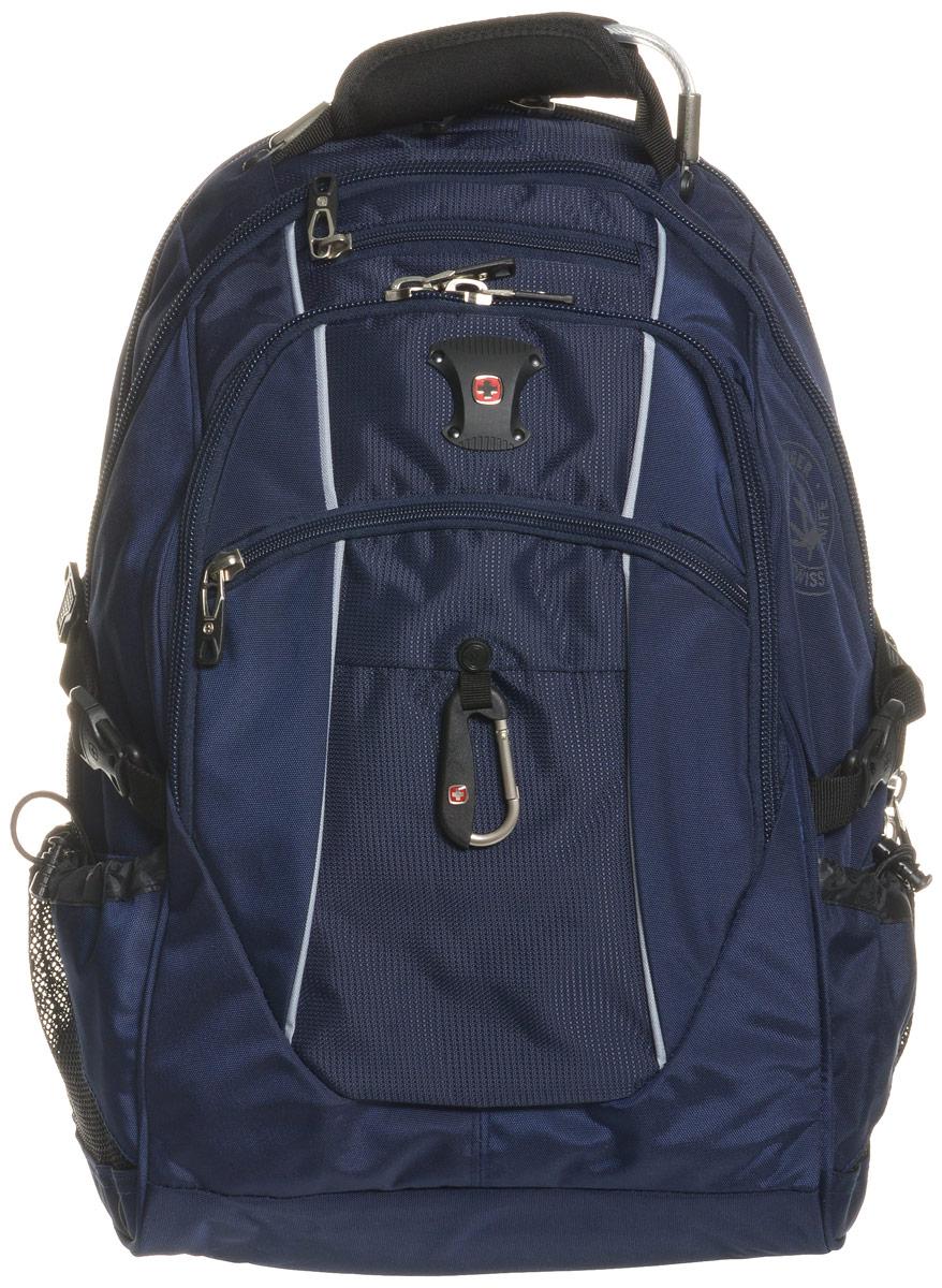 Рюкзак городской Wenger, цвет: синий, серебристый, 38 лMABLSEH10001Высококачественный и стильный, надежный и удобный, а главное прочный рюкзак Wenger. Благодаря многофункциональности данный рюкзак позволяет удобно и легко укладывать свои вещи.Особенности рюкзака:3 внешних кармана на молнии 2 внешних регулируемых сетчатых кармана для бутылок с водой Боковая молния для быстрого доступа к ноутбуку Большое основное отделение Внешний карабин Внутренний карман на молнии Возможность крепления на чемодане Отделение для 17 ноутбука с системой ScanSmart Карман-органайзер для мелких предметов Металлические застежки молний с пластиковыми вставками Мягкая перегородка отделения для ноутбука Карман на липучке для планшетного компьютера с диагональю до 38 см Внутренне отстегивающееся кольцо для ключей Петля для очков Поясничная поддержка рюкзака Регулируемые плечевые ремни Внутренний сетчатый карман на молнии для хранения аксессуаров ноутбука Стягивающие ремни Усиленная мягкая ручка для переноски Эргономичная спинка с системой циркуляции воздуха Airflow.