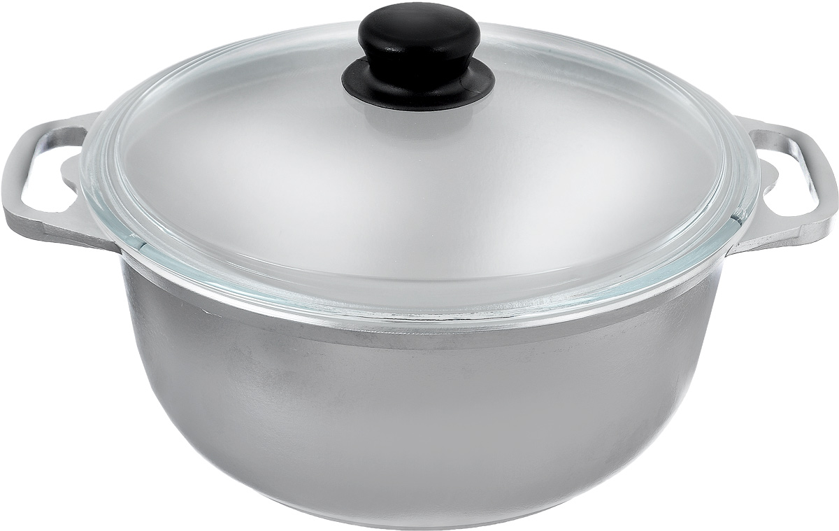 Кастрюля Катюша с крышкой, 4 л94672Кастрюля Катюша, выполненная из литого алюминия, позволит вам приготовить вкуснейшие блюда. Обычно такие кастрюли используют для варки каш или овощей. Благодаря хорошей теплопроводности алюминия, молоко или вода закипают в них быстрее, чем в эмалированных кастрюлях.Данная кастрюля отличается долговечностью и легкостью. Крышка изготовлена из жаропрочного стекла. Она плотно прилегает к кастрюле и позволяет следить за процессом приготовления без потери тепла. Подходит для газовых, электрических и галогеновых плит. Не подходит для индукционных плит. Можно мыть в посудомоченой машине. Высота стенки: 12 см. Ширина кастрюли (с учетом ручек): 33,5 см.