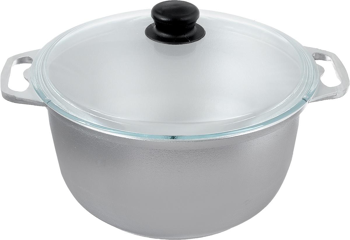 Кастрюля Катюша с крышкой, 6 лSS-5185.16Кастрюля Катюша, выполненная из литого алюминия, позволит вам приготовить вкуснейшие блюда. Обычно такие кастрюли используют для варки каш или овощей. Благодаря хорошей теплопроводности алюминия, молоко или вода закипают в них быстрее, чем в эмалированных кастрюлях.Данная кастрюля отличается долговечностью и легкостью. Крышка изготовлена из жаропрочного стекла. Она плотно прилегает к кастрюле и позволяет следить за процессом приготовления без потери тепла. Подходит для газовых, электрических и галогеновых плит. Не подходит для индукционных плит. Высота стенки: 14,5 см. Ширина кастрюли (с учетом ручек): 35 см.