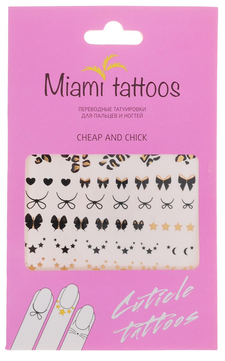 Miami Tattoos Флэш тату для пальцев и ногтей Miami Tattoos Cheap & Chick 1 лист 10 см х 15 см1301207Miami Tattoos - это дизайнерские переводные тату-украшения. Оригинальные тату для кутикул - это ультрамодное дополнение к вашему маникюру! Они не только эффектно смотрятся, но еще и визуально вытягивают ногти, делая их более изящными. Для производства Miami Tattoos используются только качественные,?яркие?и?стойкие?краски. Они?не вызывают аллергию идержатся?до семи?дней!