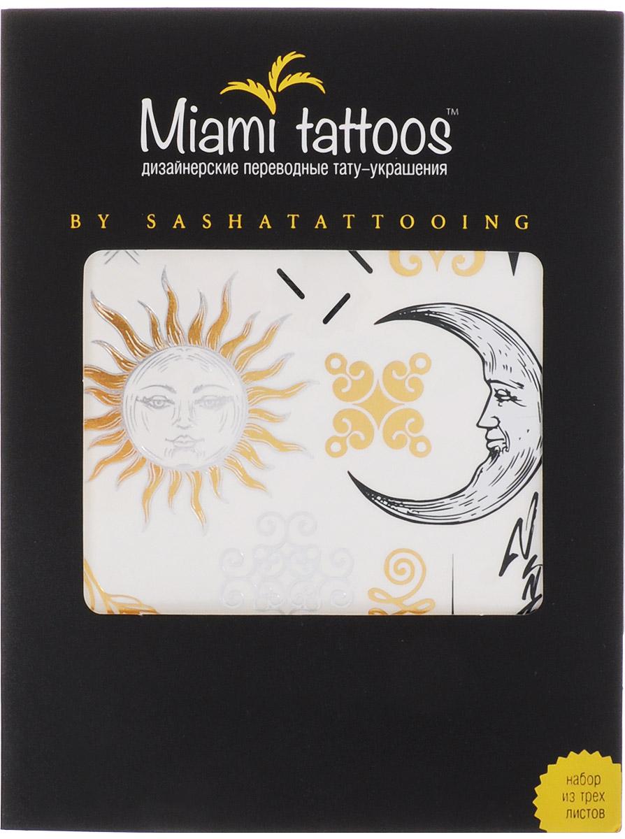 Miami Tattoos Флэш тату Miami Tattoos By Sashatattoing 3 листа 20 см х 15 смMT0001Miami Tattoos - это дизайнерские переводные тату-украшения. Коллекция By SashaTattoing cоздана в сотрудничество с тату-мастером, королевой точечных татуировок Сашей Масюк, больше известную под псевдонимом SashaTattooing. В коллекции любимые узоры мастера – солнце, луна, перья, цветы. В золотом и серебристых цветах они выглядят еще более изящно и нежно. Для производства Miami Tattoos используются только качественные, яркие и стойкие краски. Они не вызывают аллергию идержатся до семи дней!
