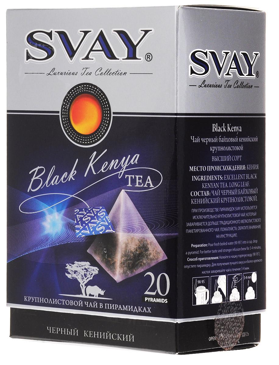 Svay Black Kenya черный чай в пирамидках, 20 штбас004Жаркая Кения – страна сафари и роскошного удивительного ароматного чая. Изысканный сорт Black Kenya, обладая редким сочетание благородной крепости и волшебной сладости послевкусия, подарит незабываемое наслаждение чаем Svay.