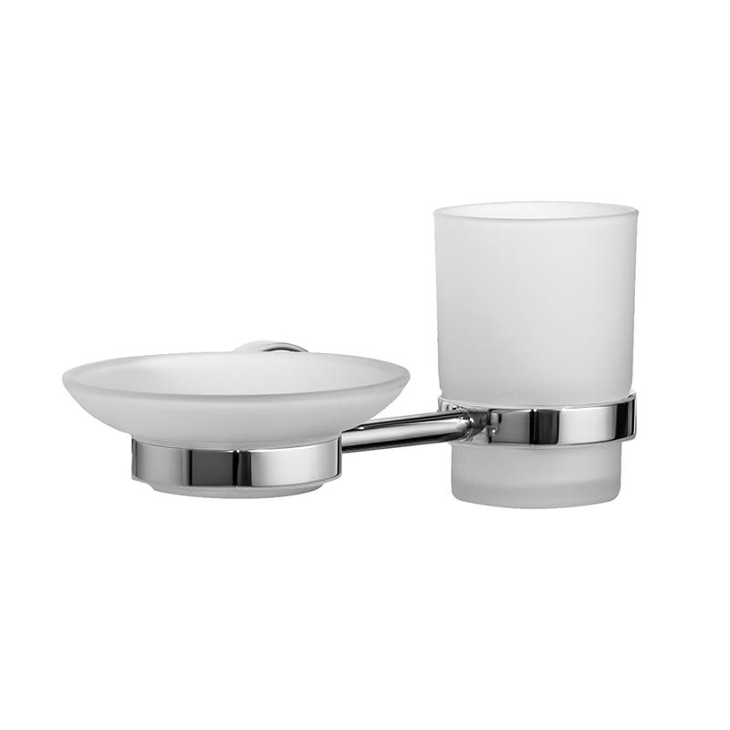 Набор аксессуаров для ванной комнаты Iddis Calipso, цвет: хромCALMBG0i57Набор аксессуаров для ванной комнаты Iddis Calipso изготовлен из латуни и матового стекла белого цвета. Изделие превосходно дополнит интерьер ванной комнаты. Набор включает в себя стакан для зубных щеток и мыльницу.