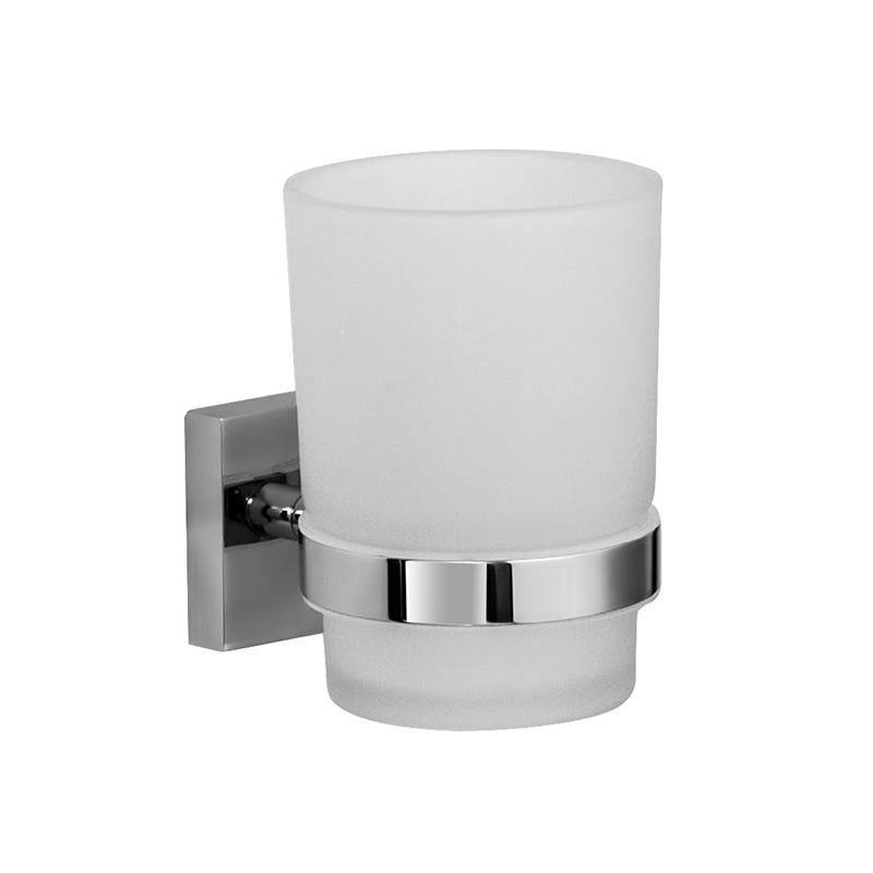 Стакан для зубных щеток Iddis Edifice, цвет: хромES-412Стакан для зубных щеток Iddis Edifice изготовлен из латуни и матового стекла белого цвета. Изделие превосходно дополнит интерьер ванной комнаты.