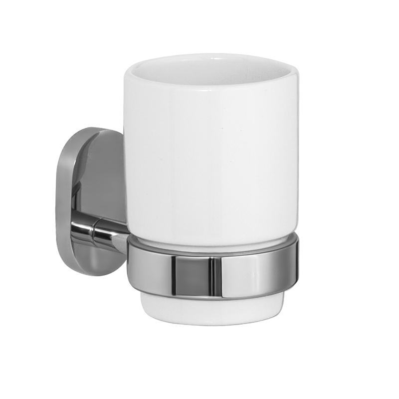 Стакан для зубных щеток Iddis Mirro Plus, цвет: хром531-401Стакан для зубных щеток Iddis Mirro Plus изготовлен из латуни и матового стекла белого цвета. Изделие превосходно дополнит интерьер ванной комнаты.
