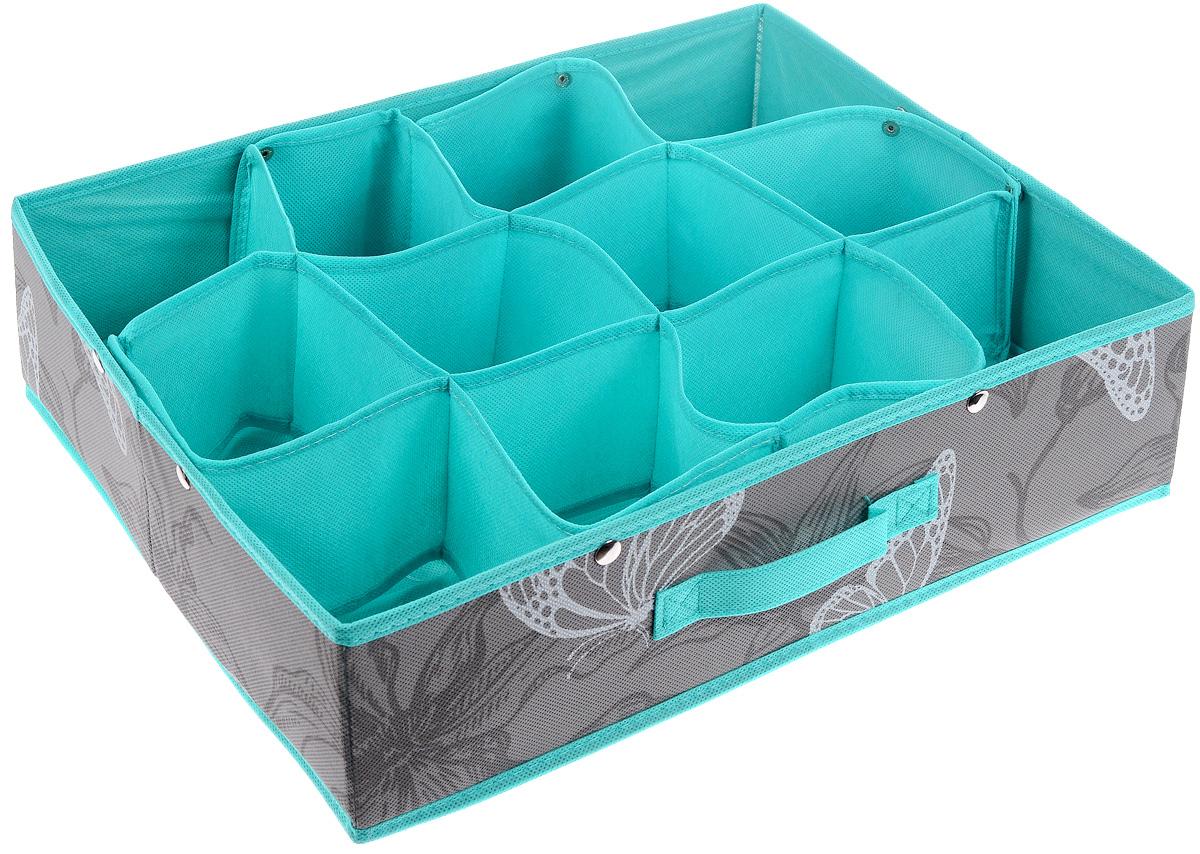 Кофр для хранения Бабочки, 12 секций, 45 х 36 х 12 смTD 0033Кофр для хранения Бабочки изготовлен из высококачественного нетканого полотна, декорированного изображением бабочек. Кофр имеет 12 квадратных секций для хранения бытовых вещей, белья, носков и многого другого. Вставки из картона обеспечивают прочность конструкции. Спереди расположена ручка.Оригинальный принт, модный цвет и качество исполнения сделают такой кофр незаменимым для хранения ваших вещей.